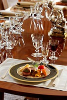 Roast beef stuffed with herbs in a luxurious decor