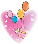 a heart-shaped gift box hanging from balloons