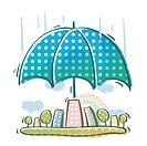 Umbrella covering the city