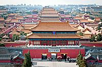 Aerial view on Forbidden City seen from Jingshan Park in Bejing, China.