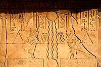 EGYPT, DENDERA, TEMPLE OF DENDERA, TEMPLE OF HATHOR, CARVING, BA, HUMAN HEADED SPIRIT.