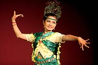 Performance of traditional Cambodian dance by members of the Cambodian Living Arts organization at the National Museum in Phnom Penh, Cambodia.