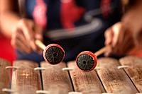 A young woman practices playing a traditional Cambodian xylophone in Phnom Penh, Cambodia.