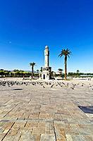 Saat Kulesi, clock tower, on Konak Square in Izmir, Turkey, Asia,