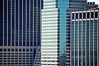 Façades of the 55 Water Street building -on the left, One Financial Square -center, and the Citybank Building -right. Financial District, Manhattan, N...