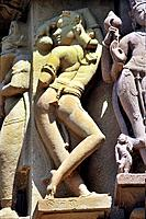 Khajuraho graceful apsaras and nayikas on wall of lakshmana temple madhya pradesh india