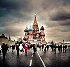 View of the Orthodox Cathedral of St Basil in Red Square in Moscow, Russia.