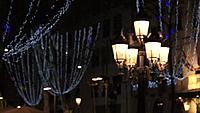 Rambla Barcelona a Christmas winter night, with lights decorating the city. Barcelona Spain. 2012