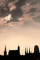 Poland, Gdansk-The skyline of the Old Town.