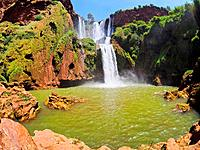 Ouzoud Waterfalls located in the Grand Atlas village of Tanaghmeilt, in the Azilal province in Morocco, Africa.