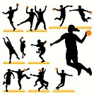 14 Handball Silhouettes Set