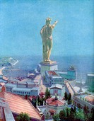 The Colossus of Rhodes, Greece, 1933-1934. The Colossus of Rhodes was a colossus of the Greek god Helios, erected on the Greek island of Rhodes by Cha...