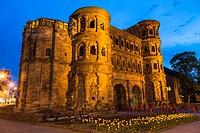The historic Porta Nigra in Trier (Treves) at night, Rhineland-Palatinate, Germany, Europe