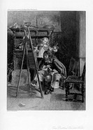 'The Brothers Van de Velde', c1880-1882. Portrait of the 17th century Dutch painters Willem (the Younger) and Adriaen Van de Velde at work in their st...