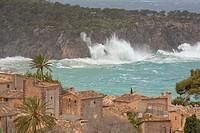 Lluc Alcari village and Punta de sa Pedrissa during a Winter wind storm. Majorca, Balearic islands, Spain