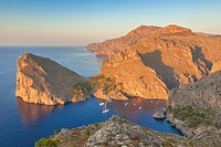 Northwest coast of Majorca at sunset. Torrent de Pareis and La Calobra coves and Morro de sa Vaca peninsula. Balearic islands, Spain