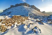 Tramuntana mountains. Puig de Massanella north face 1367m/4483ft and stone wall. Escorca area. Majorca, Balearic islands, Spain