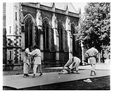 Judo is practised in the 'Quad' at Oxford.