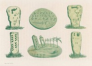 Native American (probably Comanche) inscriptions on stones and other items.