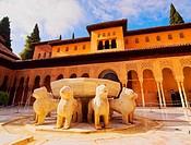 Patio de los Leones in Palacios Nazaries of Alhambra in Granada, Andalusia, Spain.