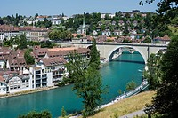 View of the historic centre with the Aar River or Aare River with the Nydegg Bridge, Bern, Canton of Bern, Switzerland