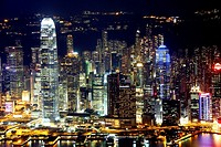 Skyline of Hong Kong Island by night with World Trade Centre, Hong Kong, China, East Asia.