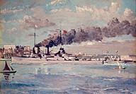 Painting by Philip Connard (completed 1919) entitled The Surrender of the Goeben, showing the German battleship SMS Goeben flying a white flag in Cons...