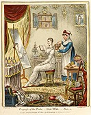 Engraving by James Gillray of a maid servant helping a lady put on her wig in her dressing room