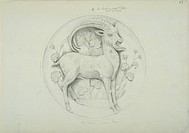 Drawing 62 Vol 1 by Alfred Waterhouse for the ornamentation of the Natural History Museum, London, 1876. Waterhouse designed the museum in the 1860s, ...