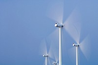 group of windmills for renewable electric energy production, La Muela, Zaragoza, Aragon, Spain.