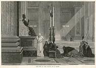 Pope Pius IX prays at the Statue of St Peter