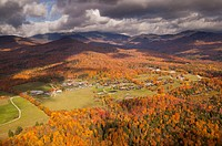 Aerial view of Trapp Family Lodge during peak foliage season, Stowe, Vermont, USA.