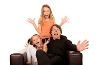 Crazy people crying and laughing. Isolated on a white background.