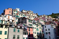 Colourful buildings at Riomaggiore, Cinque Terre, UNESCO World Heritage Site, Liguria, Italy, Europe