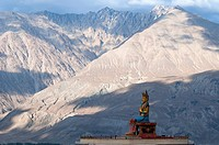 Giant Maitreya Buddha statue at the Diskit Gompa in the Nubra Valley of Ladakh, northern India