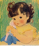 An adorable little girl with big, brown eyes gazes at the viewer while cuddling her doll closely.