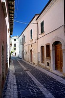 Narrow old town city centre alley in Macchiagodena, Molise, Italy