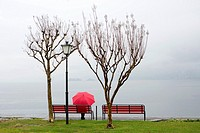 Woman sitting on a bench with a red umbrella on the lakefront in ascona ticino switzerland.