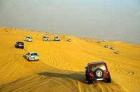 Desert sfari on jeeps. Dune bashing in Dubai. UAE