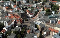 Old house - apartment buildings - residential areas on Rannischer place in Halle / Saale in Saxony-Anhalt. - Halle / Saale, Sachsen-Anhalt, Germany, 1...