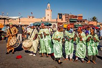 Street Entertainers, Jemaa el-Fna Square, Marrakech, Morocco.