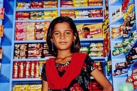 Sweet seller young girl, Jaisalmer, Rajasthan state, India