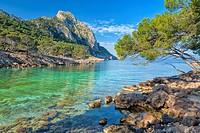Ses Caletes des Cap Pinar cove and Penya Rotja mountain. Cap des Pinar, Alcudia area. Majorca, Balearic islands, Spain