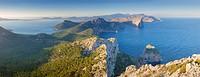 Formentor peninsula, Pollensa harbour [left] and Tramuntana mountains. Pollensa area. Majorca, Balearic islands, Spain