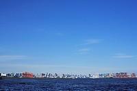 Blue sky over office buildings, copy space, Tokyo prefecture, Japan