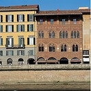 Palazzo Agostini, Pisa, by Unknown artist, 14th Century, brick, fired in mold. Italy; Tuscany; Pisa; Palazzo Agostini; . All. Facade palazzo brick ter...