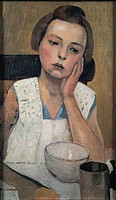 Portrait, by Casorati Felice, 1924, 20th Century, oil on panel. Italy, Lombardy, Milan, Private collection. All. Portrait girl mug, cup place-mat dres...