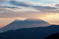 Guatemala, Acatenango and Fuego Volcanos, Sunset.