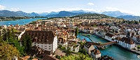 View over the old town of Lucerne towards the Lake Lucerne, Switzerland.