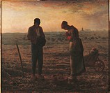 The Angelus, by Jean-Franois Millet, 1859, 19th Century, oil on canvas, cm 55,5 x 66. France, Ile de France, Paris, Muse dOrsay, R.F. 1877. All. Two p...